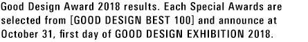 Good Design Award 2018 results. Each Special Awards are selected from [GOOD DESIGN BEST 100] and announce at October 31, first day of GOOD DESIGN EXHIBITION 2018.