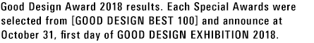 Good Design Award 2018 results. Each Special Awards were selected from [GOOD DESIGN BEST 100] and announce at October 31, first day of GOOD DESIGN EXHIBITION 2018.