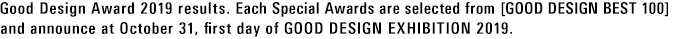 Good Design Award 2019 results. Each Special Awards are selected from [GOOD DESIGN BEST 100] and announce at October 31, first day of GOOD DESIGN EXHIBITION 2019.