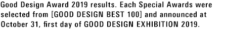 Good Design Award 2019 results. Each Special Awards were selected from [GOOD DESIGN BEST 100] and announced at October 31, first day of GOOD DESIGN EXHIBITION 2019.